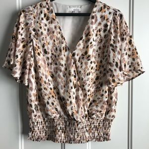 June & Hudson 1X blouse cinch waist pink leopard